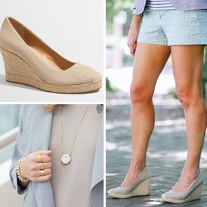 J. Crew Factory Canvas Espadrille Wedges Flax Nude